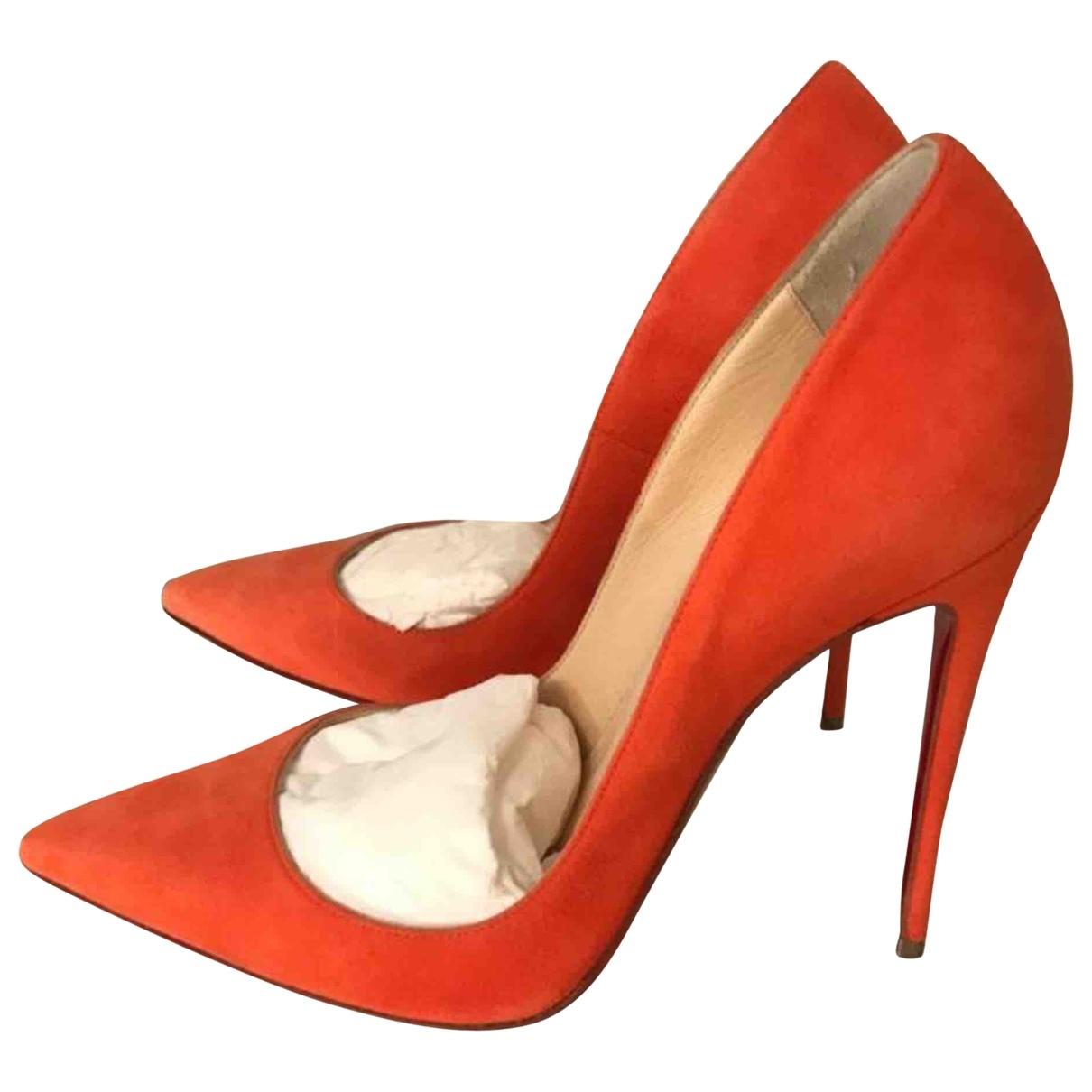 Christian Louboutin So Kate  Orange Suede Heels for Women 38 EU