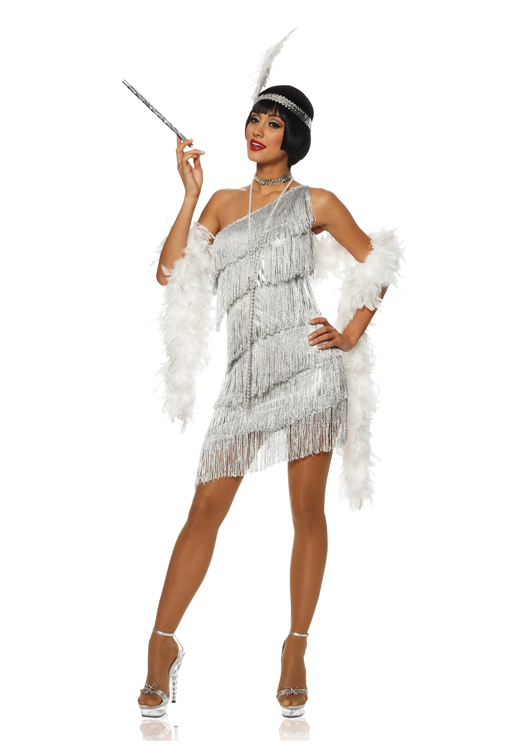 Women's Dazzling Silver Flapper Costume