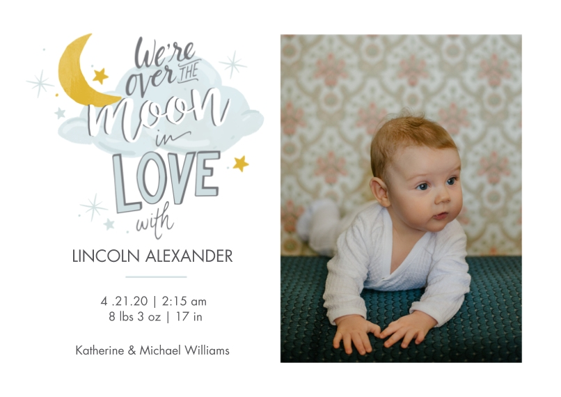 Baby Boy Announcements 5x7 Cards, Premium Cardstock 120lb with Rounded Corners, Card & Stationery -Over the Moon
