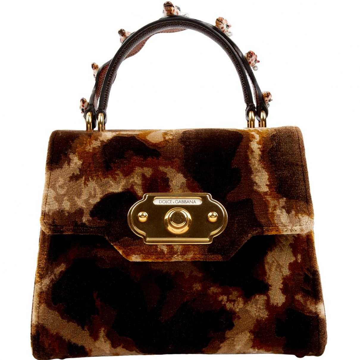 Dolce & Gabbana - Sac a main Welcome pour femme en velours - marron
