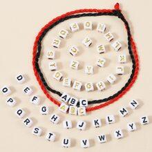 2pcs Woven Rope Bracelet With 52pcs Letter Bead