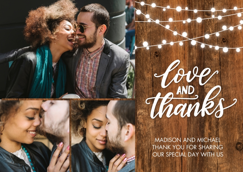 Wedding Thank You 5x7 Cards, Premium Cardstock 120lb with Scalloped Corners, Card & Stationery -Thank You WoodGrain Lights by Tumbalina