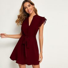 Butterfly Sleeve High Low Hem Notched Belted Dress