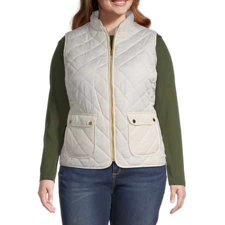St. John's Bay Quilted Vest-Plus, 5x , White