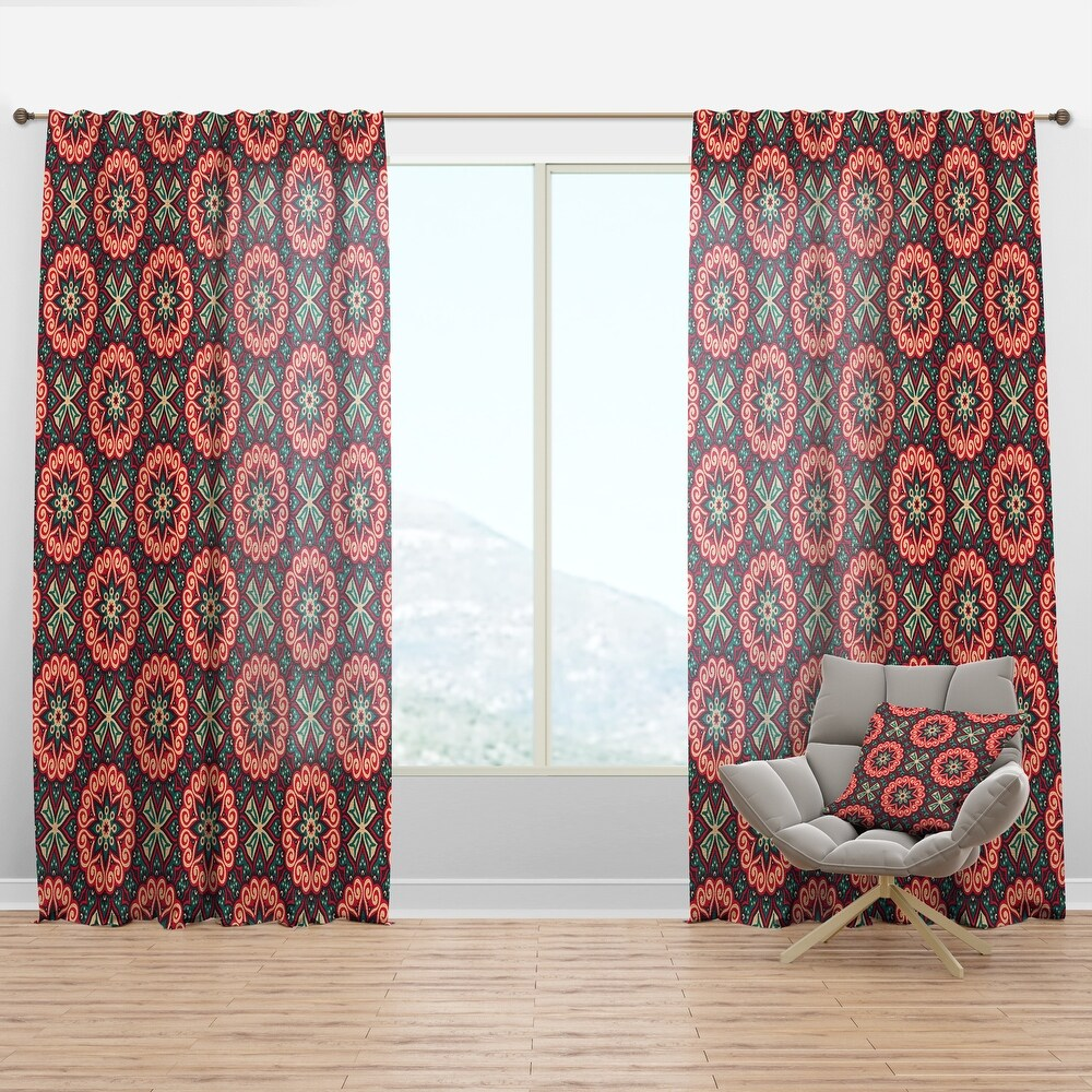 Designart 'Vintage Decorative Elements' Bohemian & Eclectic Curtain Panel (50 in. wide x 120 in. high - 1 Panel)