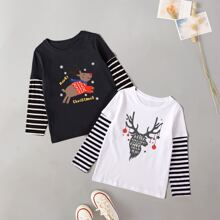 Toddler Girls 2pcs Striped And Christmas Slogan Graphic Tee