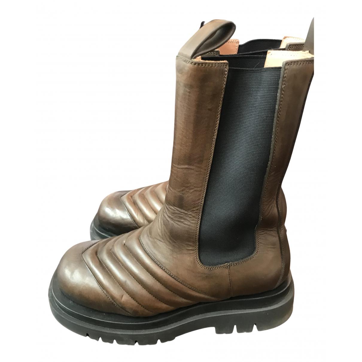 Bottega Veneta - Boots Storm pour femme en cuir - marron