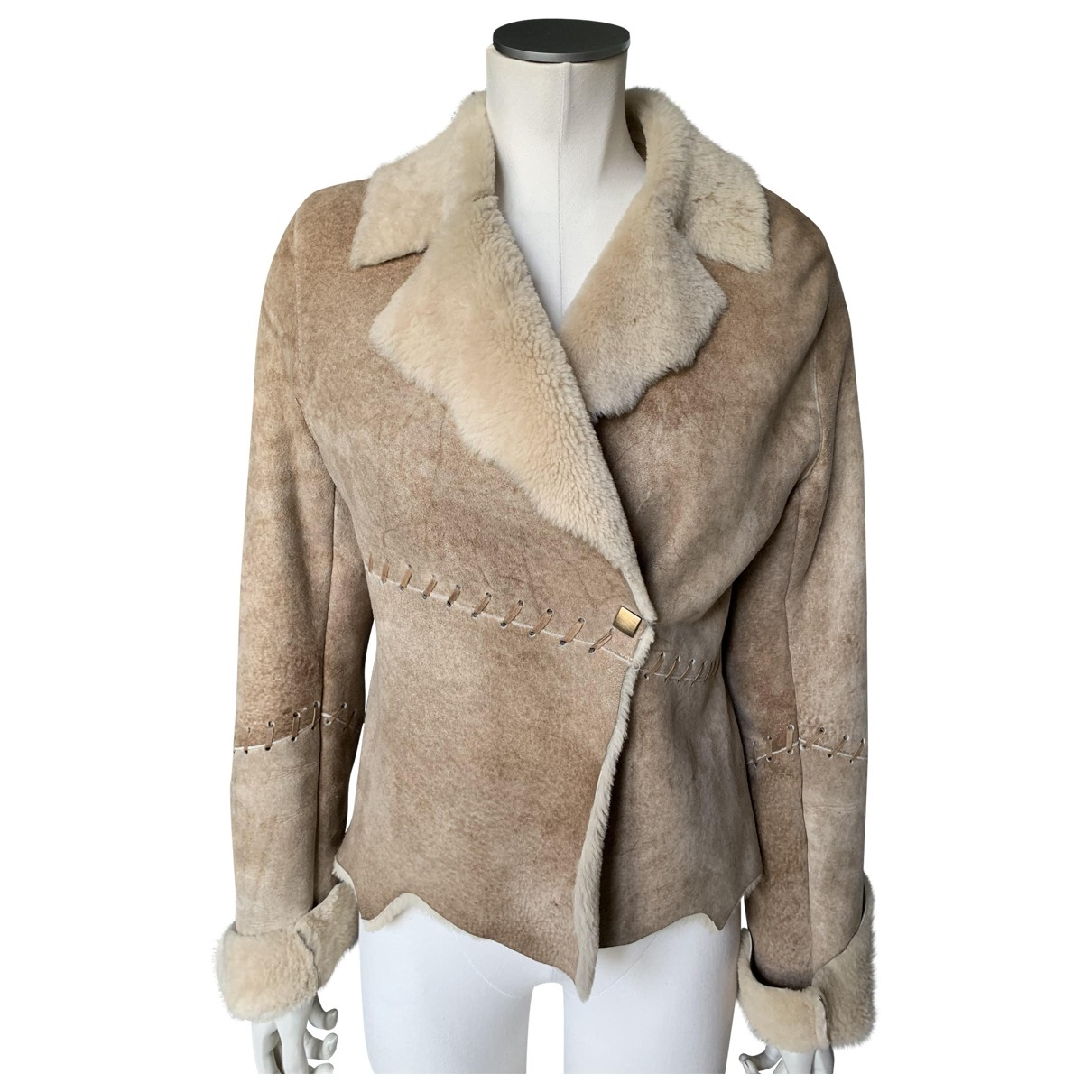 Ventcouvert \N Beige Leather coat for Women 1 0-5