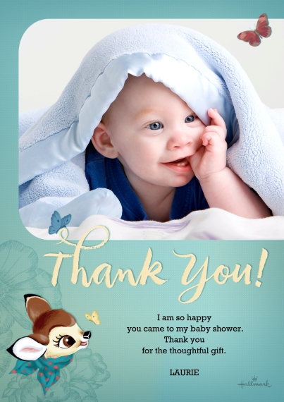 Shower Thank You Cards Flat Matte Photo Paper Cards with Envelopes, 5x7, Card & Stationery -Flowers & Butterflies Thank You - Bambi
