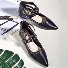Studded Decor Wide Fit Flats