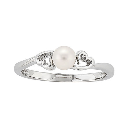 2MM White Cultured Freshwater Pearl Sterling Silver Band, 6 , No Color Family