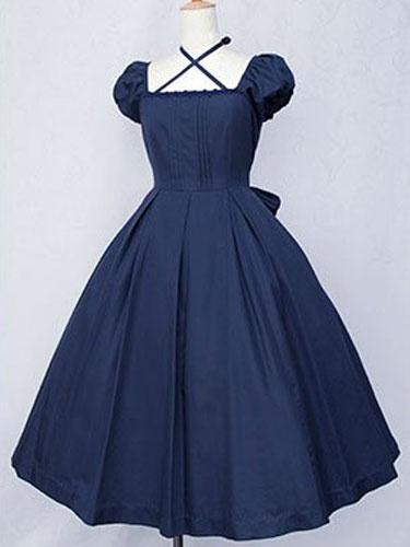 Milanoo Dark Navy Lolita Dress OP Classic Short Sleeve Cotton Lolita One Piece Dress