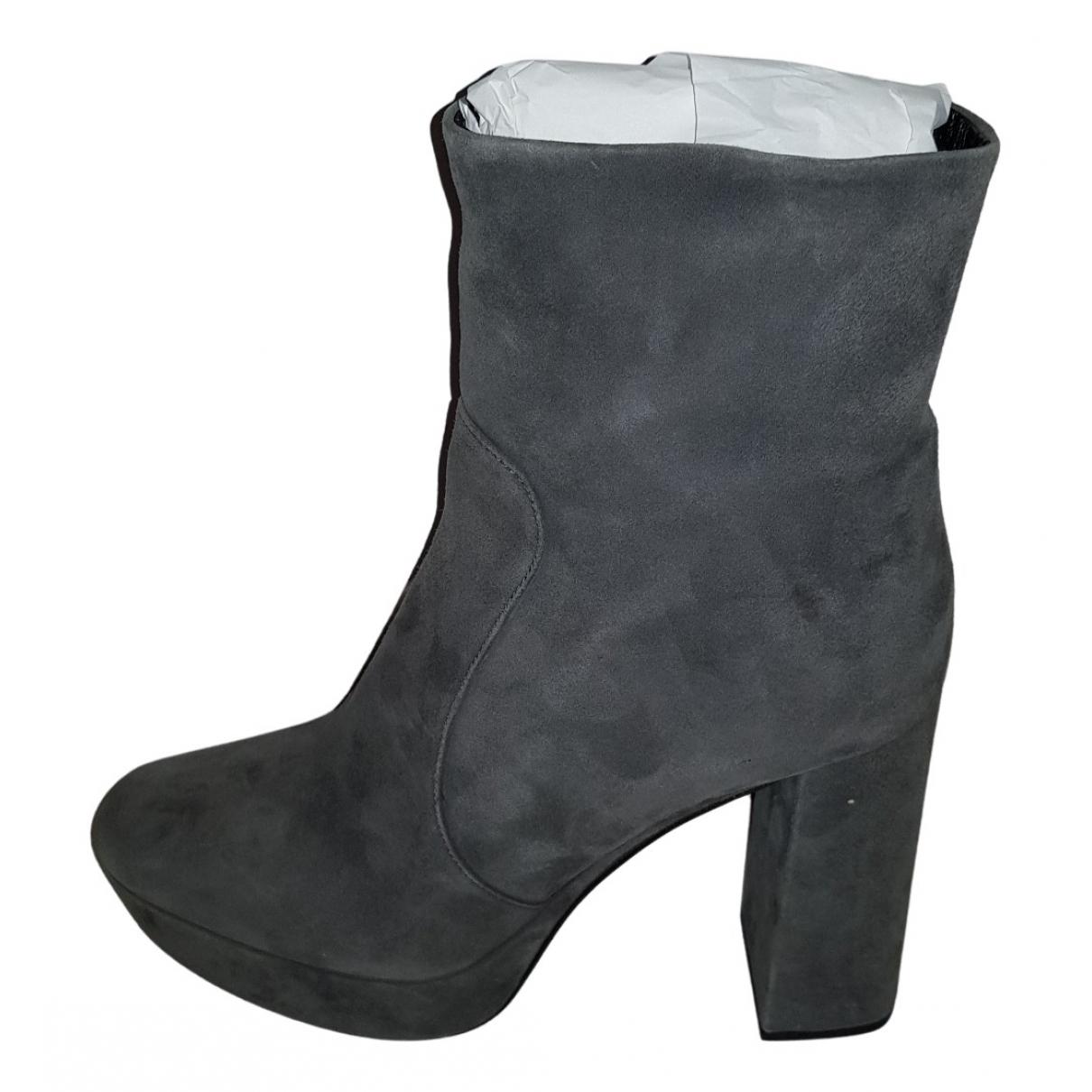 Prada \N Grey Suede Boots for Women 40 EU