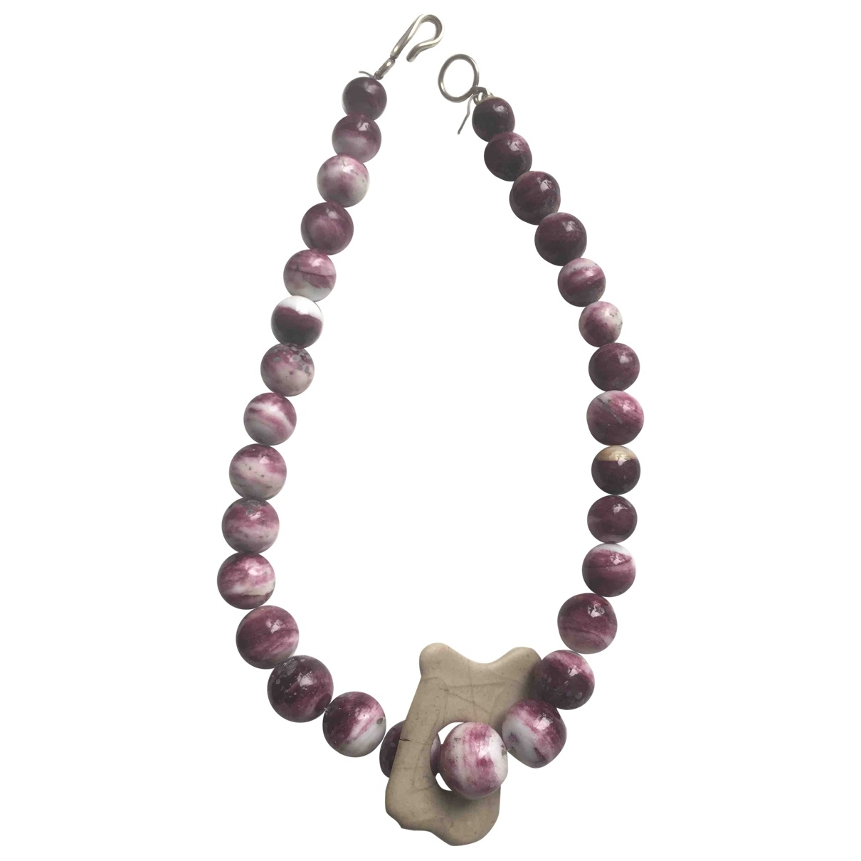 Non Signé / Unsigned \N Burgundy Pearls necklace for Women \N