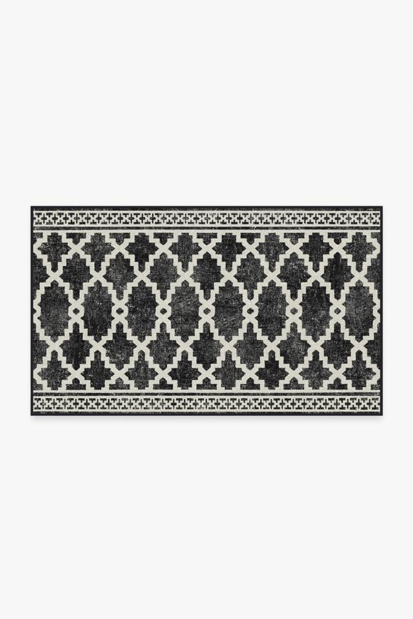 Washable Rug Cover | Outdoor Cleo Trellis Black Rug | Stain-Resistant | Ruggable | 3'x5'