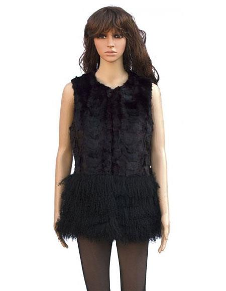 Fur Genuine Mink Vest with Mongolian Lamb