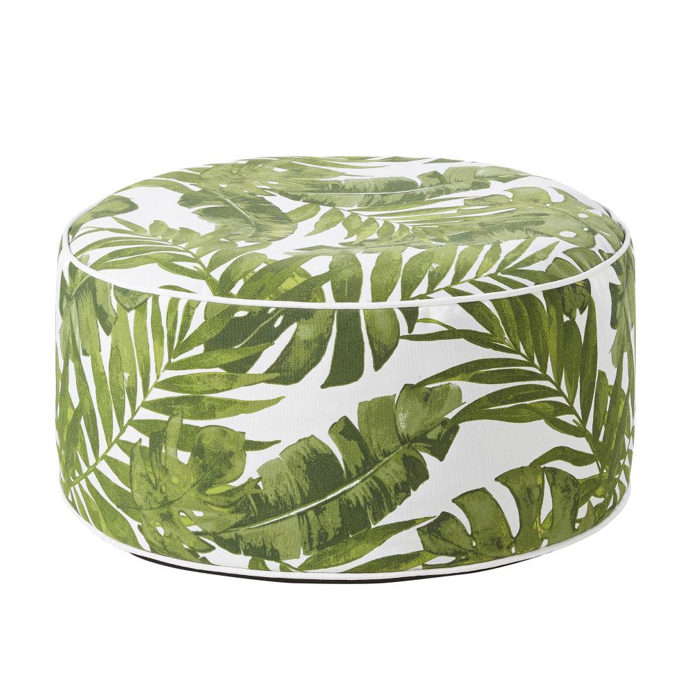 Outdoor-Sitzsack aufblasbar, weiss, bedruckt mit Pflanzenmotiv