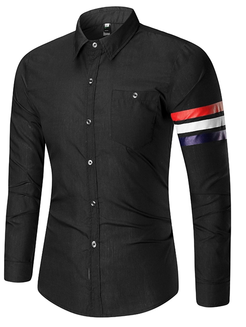 Ericdress Button Stripe Lapel Mens Single-Breasted Shirt