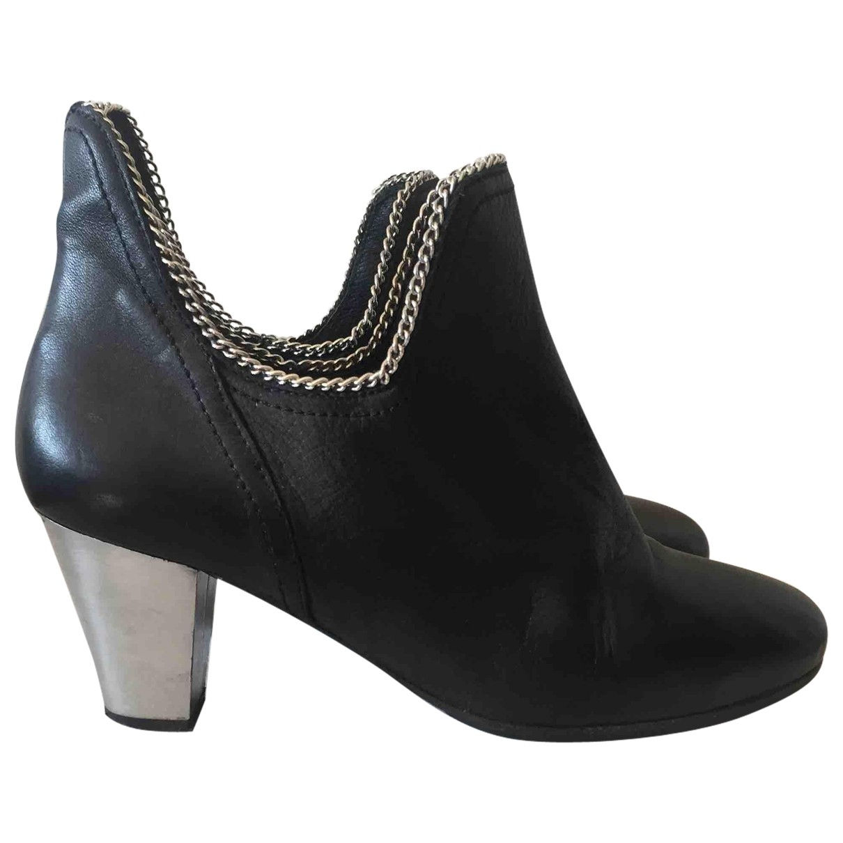 American Retro \N Black Leather Ankle boots for Women 39 EU