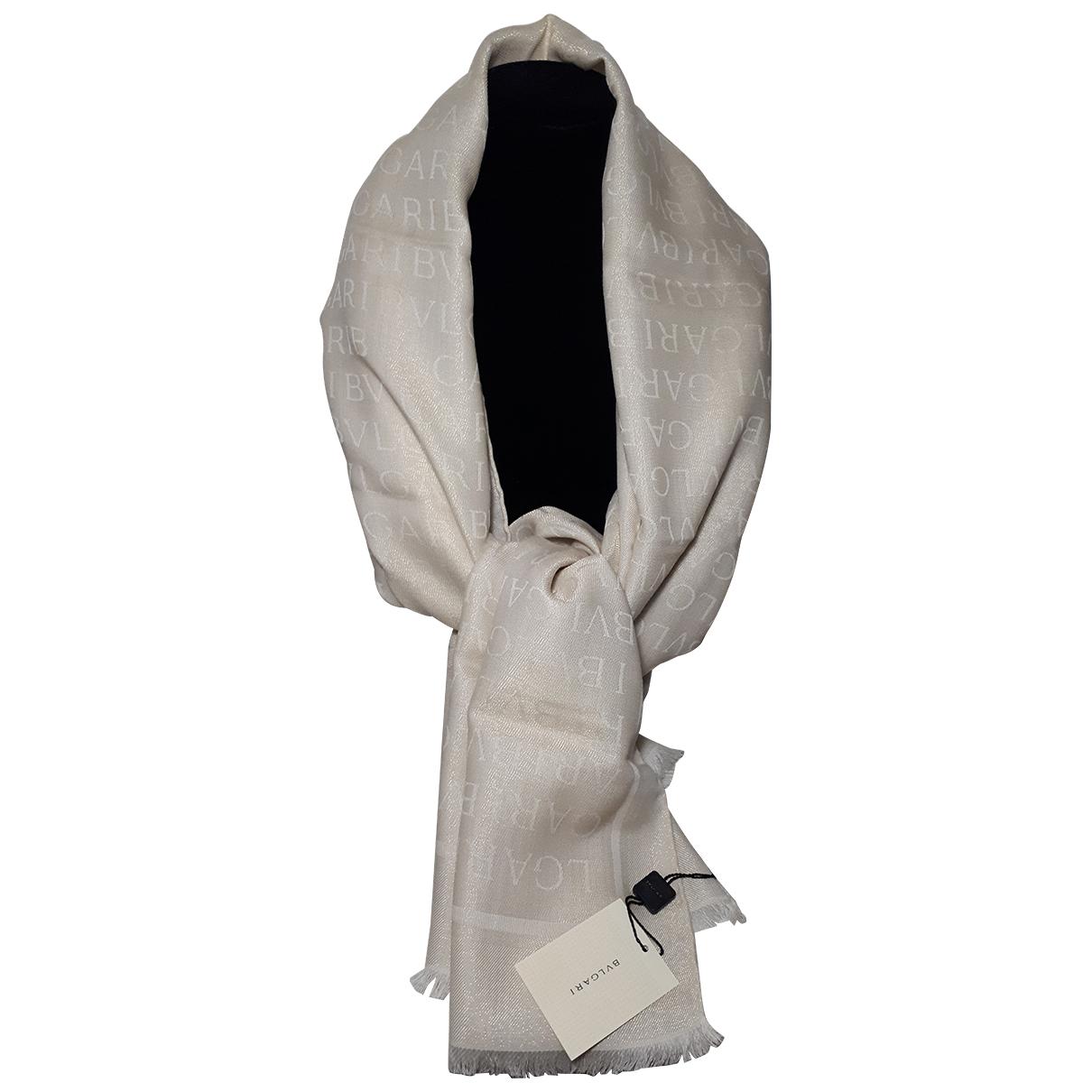 Bvlgari - Foulard   pour femme en soie - ecru