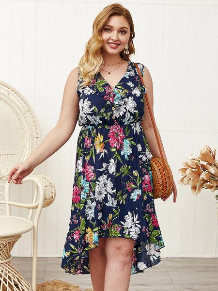 Yoins Plus Size Navy Floral Print V-neck Sleeveless Dress