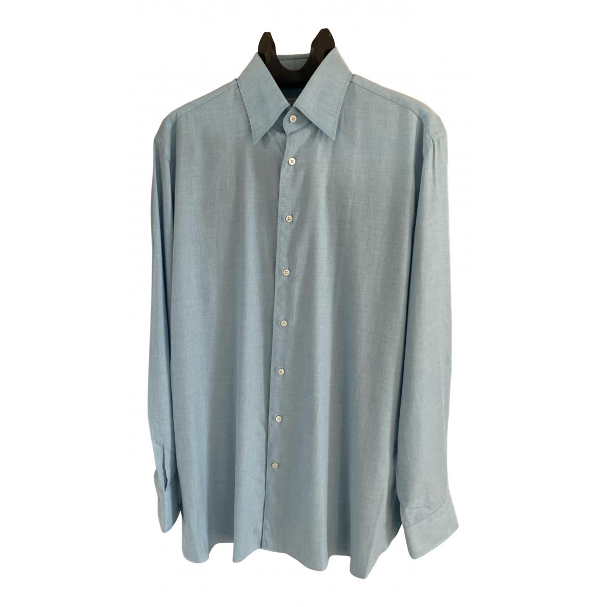 Zilli N Blue Cotton Shirts for Men 44 EU (tour de cou / collar)
