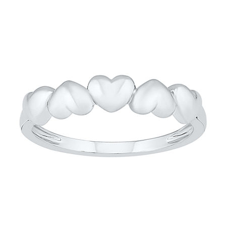 4.5MM 10K White Gold Heart Band, 7 , No Color Family