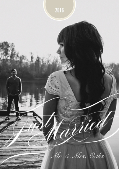 Just Married 5x7 Cards, Premium Cardstock 120lb, Card & Stationery -Graceful Wedding
