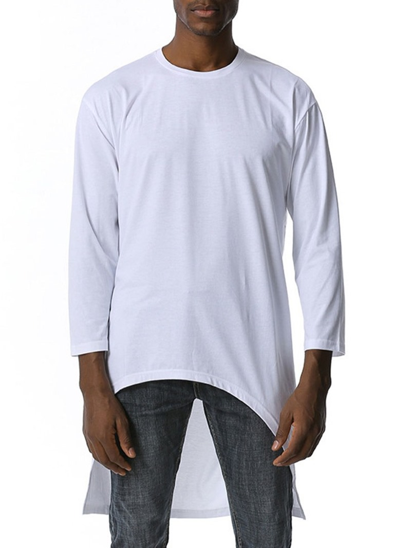 Ericdress Asymmetric Plain Round Neck Loose Pullover T-shirt