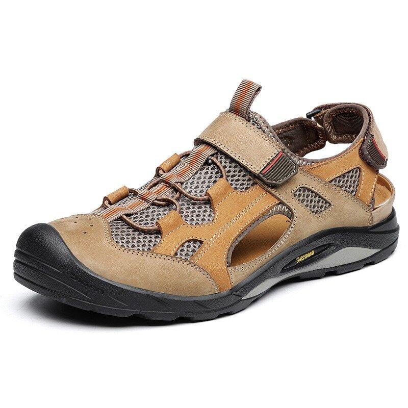 Men Cow Leather Splicing Outdoor Slip Resistant Outdoor Hiking Sandals