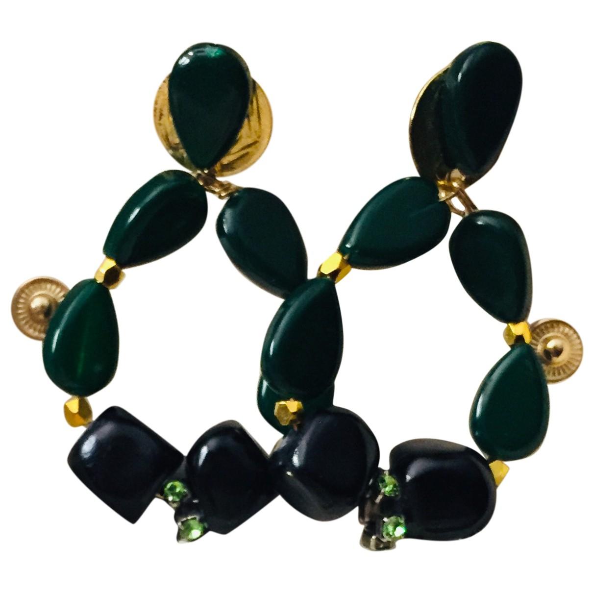 - Boucles doreilles   pour femme en cristal - vert