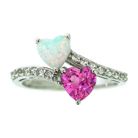 Lab-Created Opal, Pink & White Lab Created Sapphire Heart Sterling Silver Ring, 8 , No Color Family