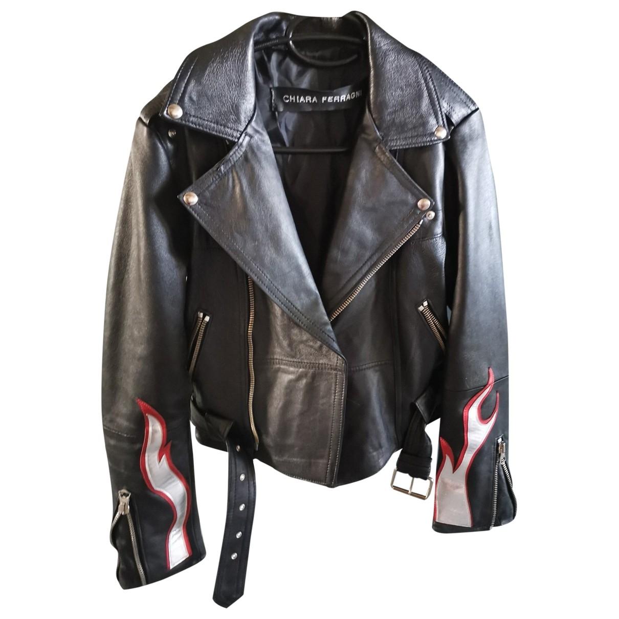 Chiara Ferragni \N Black Leather Leather jacket for Women 42 IT
