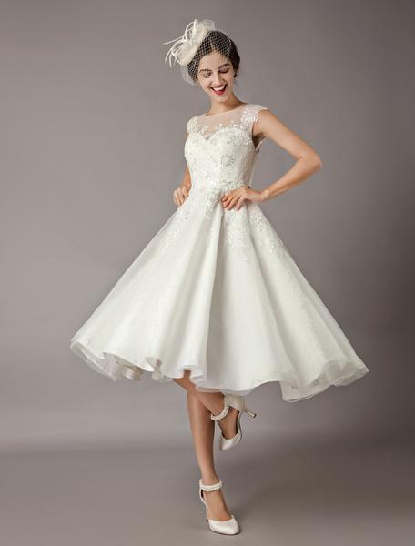 Milanoo Vintage Wedding Dresses Short Lace Tulle Sequin Tea Length Ivory Bridal Dress