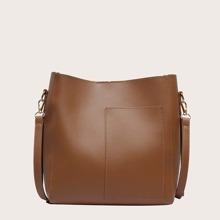 Minimalist Snap Button Bucket Bag