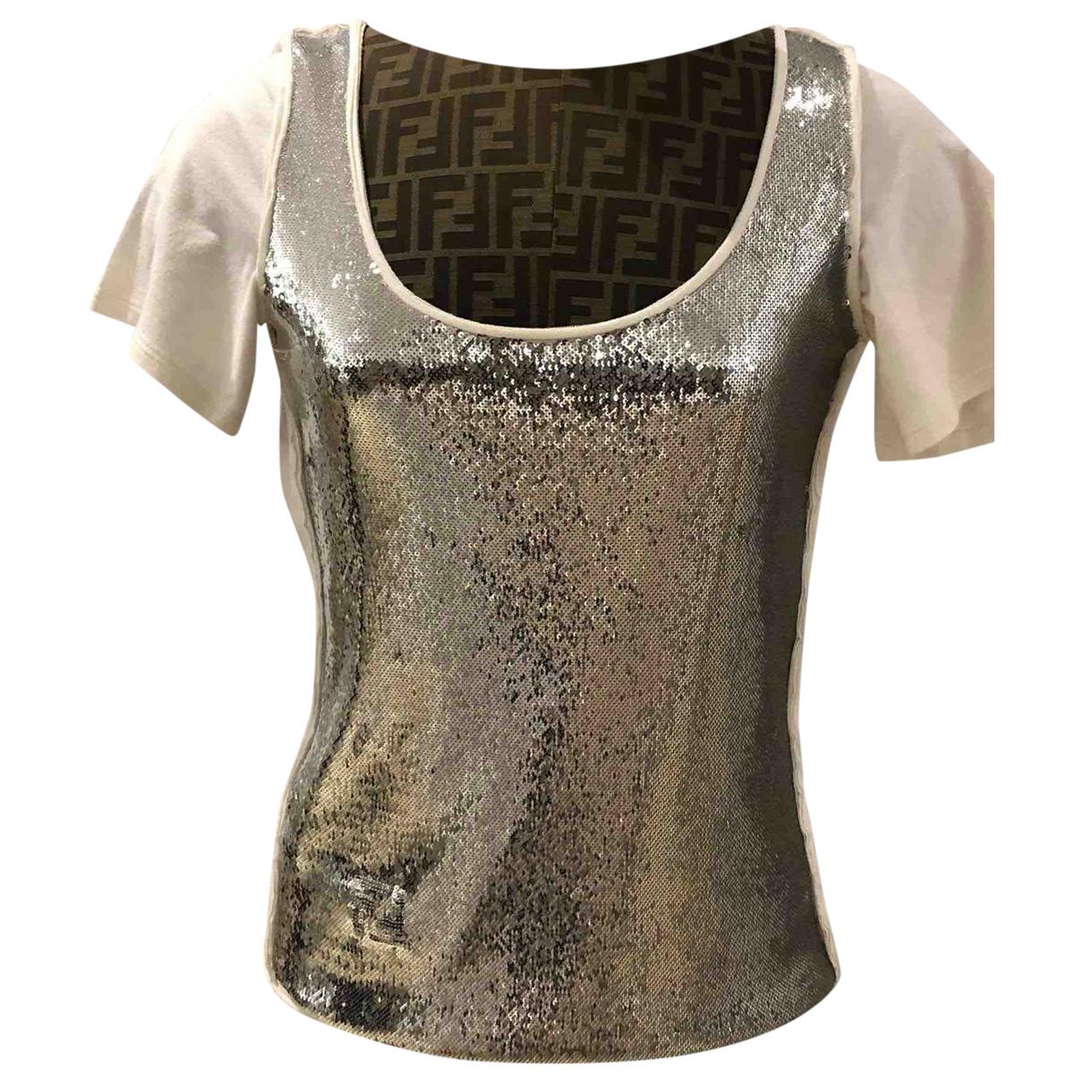 Fendi - Top   pour femme en coton - argente