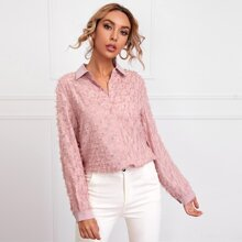 Fringe Overlay Button Front Blouse