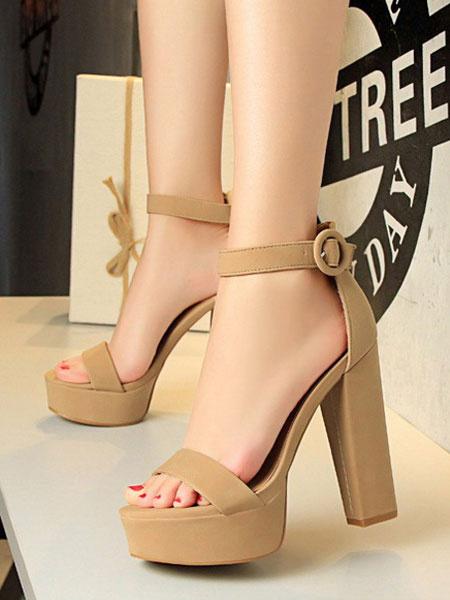 Milanoo Sandalias de tacon alto plataforma abierta dedo del pie hebilla detalle sandalias de la correa del tobillo para las mujeres