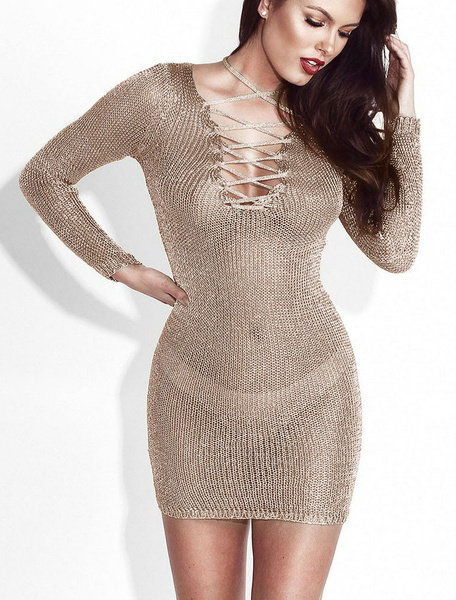 Milanoo Sexy Club Dress See Through Long Sleeve V Neck Lace Up Khaki Night Out Dress