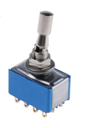APEM 4PDT Toggle Switch, Latching, Panel Mount