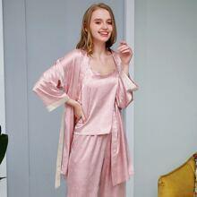 PJM Tunica de pijama de saten con estampado de corazon sin camisola