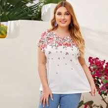 Ubergrosses T-Shirt mit Blumen Muster und Fledermausaermeln