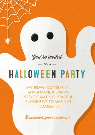 Halloween Photo Cards 5x7 Cards, Premium Cardstock 120lb with Rounded Corners, Card & Stationery -Ghostly Halloween Party