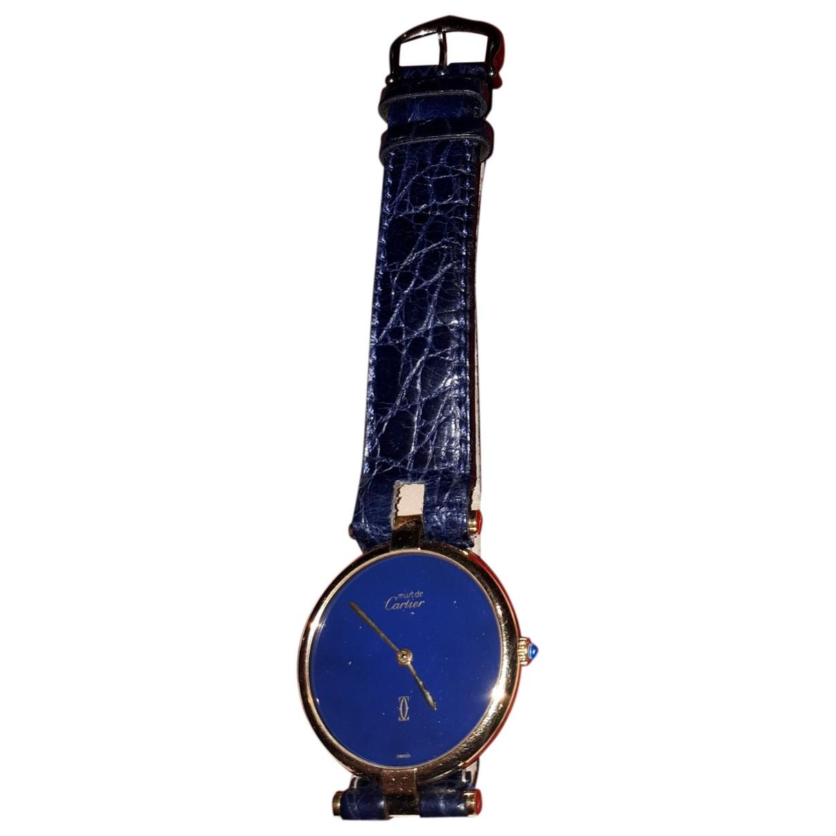 Cartier - Montre Must Vendome  pour femme en vermeil - bleu