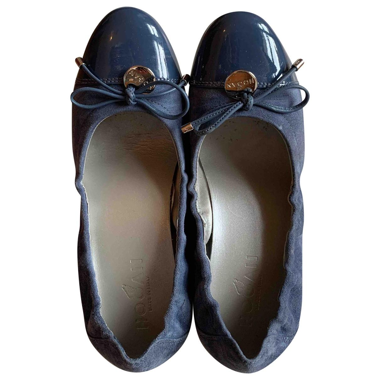 Hogan \N Ballerinas in  Blau Veloursleder