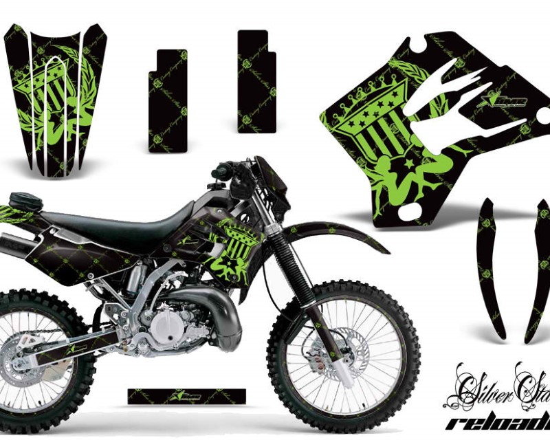 AMR Racing Graphics MX-NP-KAW-KDX200-95-06-SSR G K Kit Decal Sticker Wrap + # Plates For Kawasaki KDX200 1995-2006 RELOADED GREEN BLACK