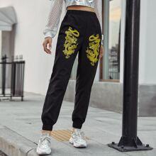 Double Chinese Dragon Print Sweatpants