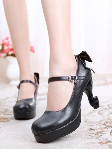 Milanoo Classic Lolita Pumps Bow PU Platform Lolita Heels