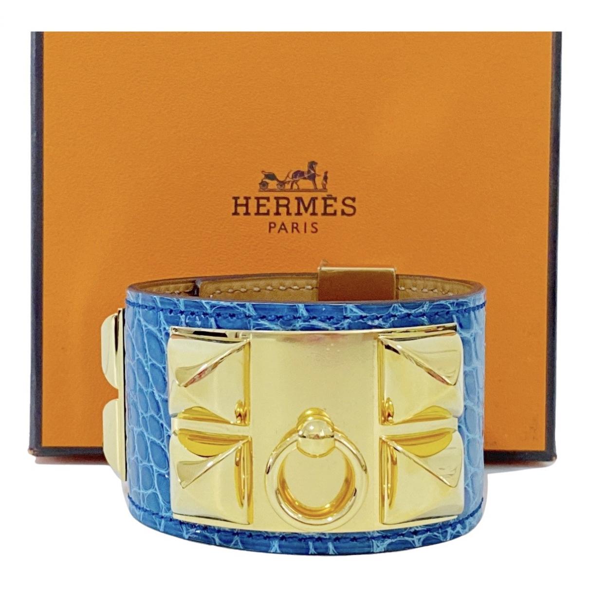 Hermes - Bracelet Collier de chien  pour femme en cuir - bleu