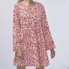 Babydoll Kleid mit Bischofaermeln und Muster